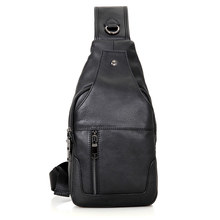 New Arrivals Excellent Genuine Leather Causal Style Mens Fashion Chest Bag Shoulder Black 4004A