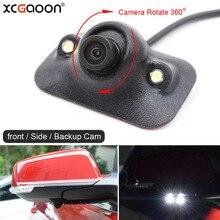 XCGaoon mini CCD Car Frente/Side/Rear View Camera Noite Versão com 2 Luzes LED Grande Angular Real cam à prova d' água Pode Girar 360
