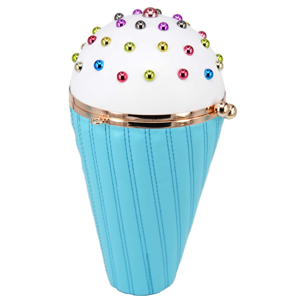 Pink Ice cream Shape Chain Handbags Lovely Multicolor Rivet Fashion Pu Clutch Evening Bag Lady Purse character prom Shoulder bag aidocrystal heart shape factory direct sell fashion woman diamond clutch for lady