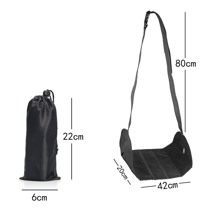 Портативный самолет подставка для ног туристические аксессуары премиум памяти ноги гамак с регулируемой высотой пригодный для использования в самолете Офис Дом - Цвет: Черный