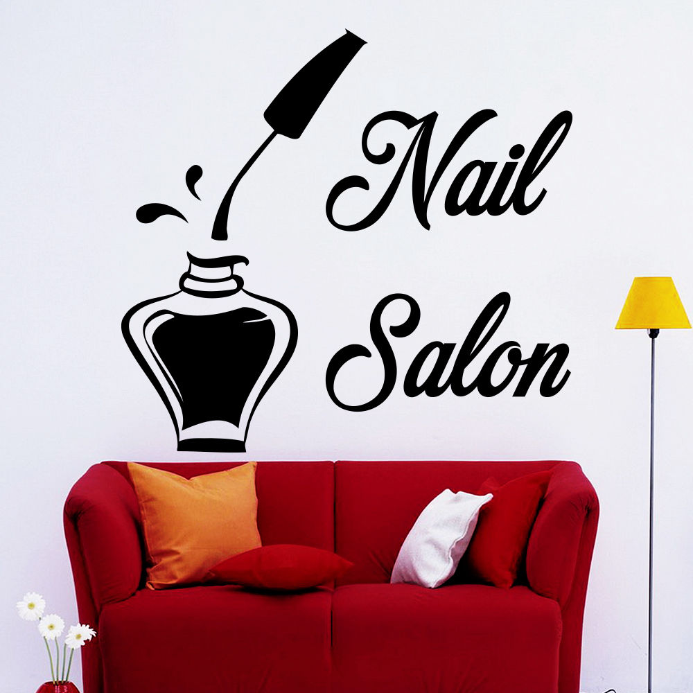 Wall decals bottle nail salon decal beauty studio decor for Salon pictures for wall