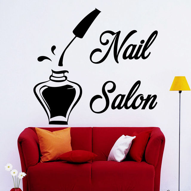 Wall decals bottle nail salon decal beauty studio decor - Stickers salon design ...