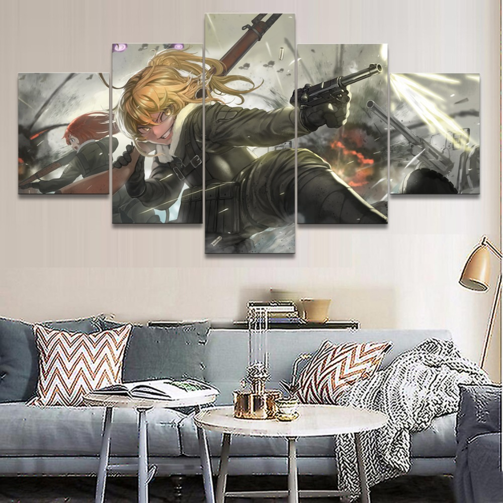 5 Pieces Painting Anime <font><b>Youjo</b></font> <font><b>Senki</b></font> Wall Art Decoration Poster Home Decor Living Room Canvas Printed Pictures Artwork Cuadros image