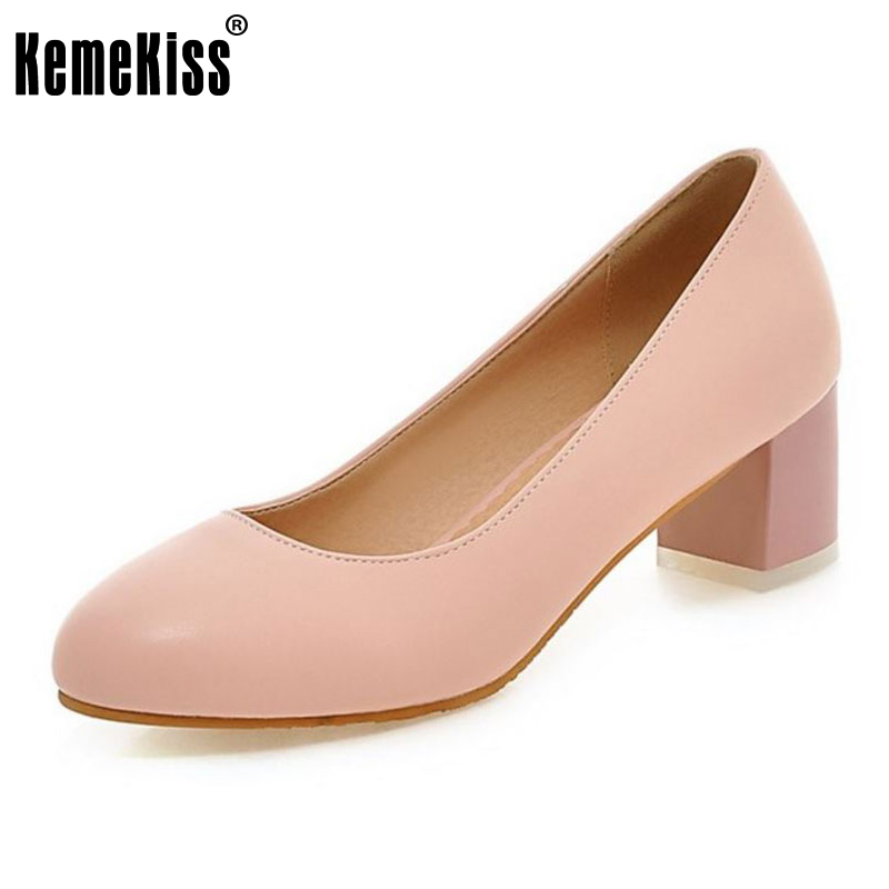 KemeKiss Size 31-45 Ladies Basic High Heels Shoes Women Round Toe Concise Thick Heel Pumps Office Lady Daily Leisure Footwear kemekiss size 33 42 women s high heel wedge shoes women cross strap platform pumps round toe casual mixed color ladies footwear