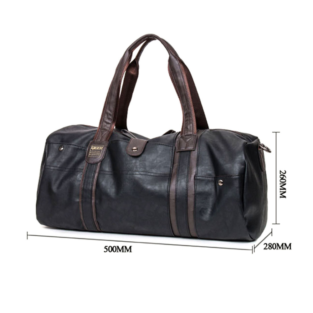 Men s Large Capacity PU Leather Sports Bag Gym Bag Fitness Sport Bags  Duffel Tote Travel Shoulder Handbag Male Bag Black Brown-in Gym Bags from  Sports ... 083ac8baeb