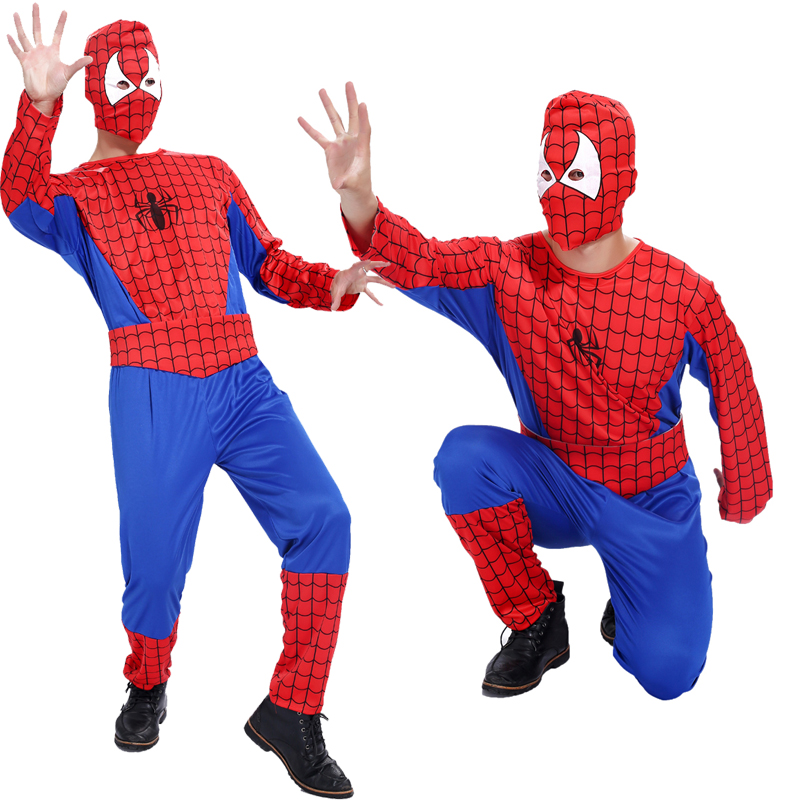 Free shipping Halloween costume Cosplay Spiderman adult male adult Spiderman Hero Costume Masquerade