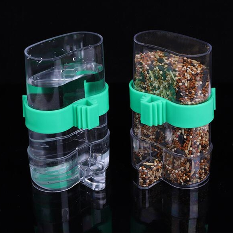 Can store water Bird Feeder Food Water Feeding Automatic Drinker Parrot Pet Dispenser Cage Clip