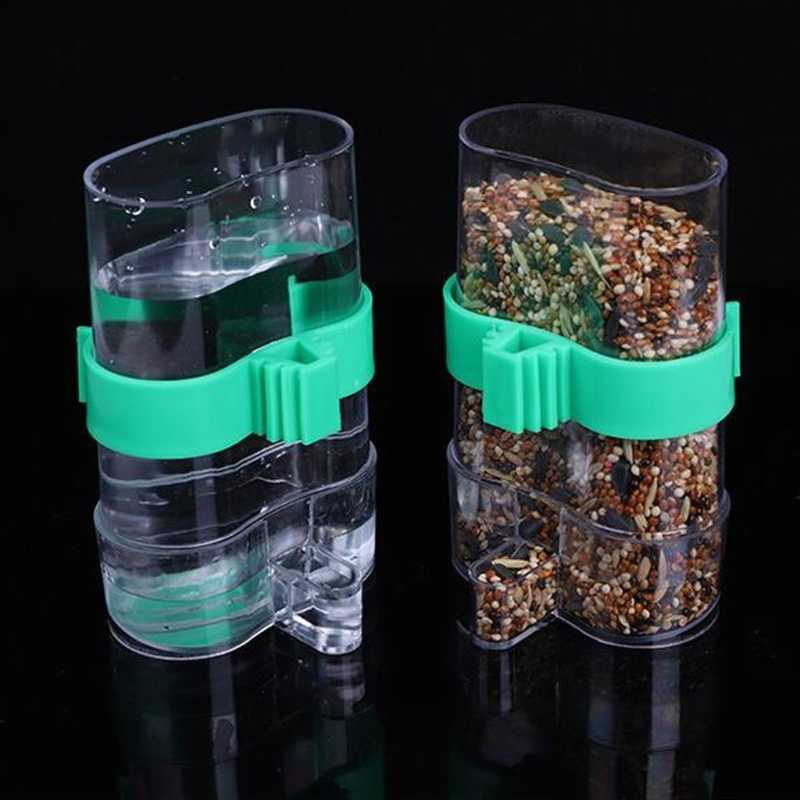 Can store water Bird Feeder Food Water Feeding Automatic Drinker Parrot Pet Dispenser Cage Clip bird feeder