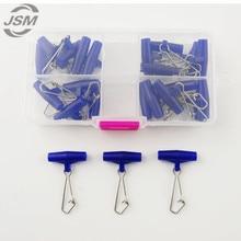 JSM 20 шт синяя пластиковая головка Поворотная с крючком оснастка рыболовные грузила слайды Вертлюги для оплетки рыболовная леска слайдер снасти с коробкой