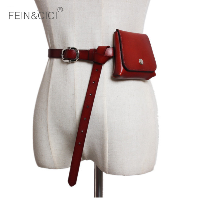 Fanny pack belt bag women genuine leather mini rivets chains Waist bag luxury brand fashion black coffee red 2018 summer new