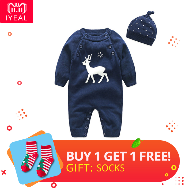 94682eeeb New year newborn baby rompers winter kintted reindeer baby boy ...
