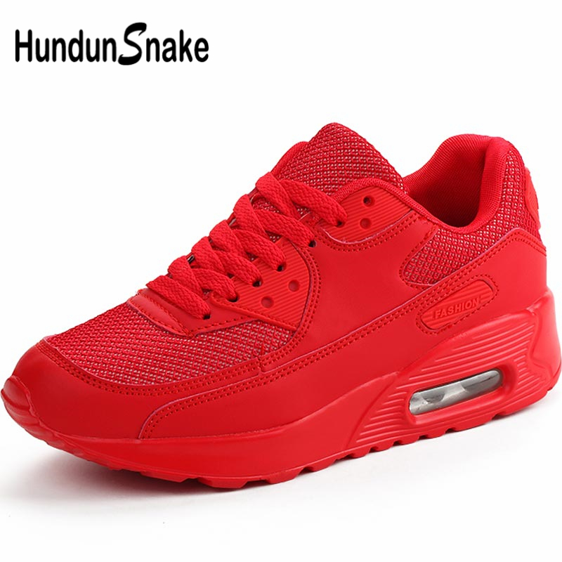 Hundunsnake Breathable Women's Sport Shoes Sports Sneakers Men Running Shoes For Women Tennis Shoes Woman Summer Train Red B-052