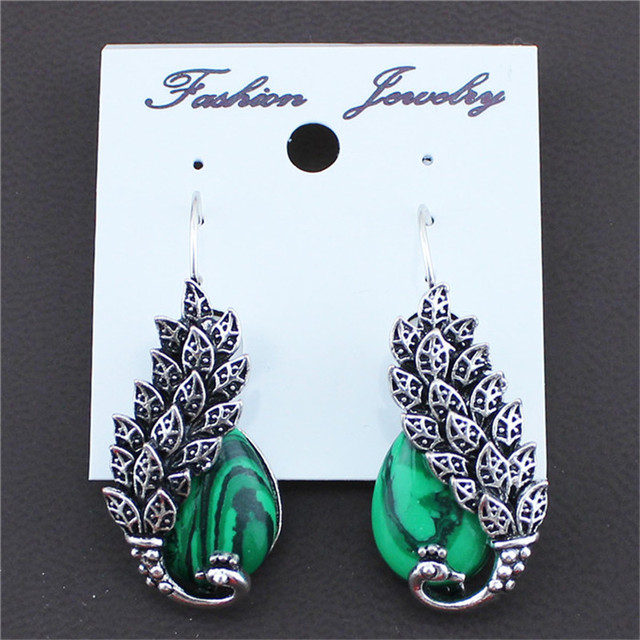 Vintage Antique Silver Plated Peacock Clip On Drop Earrings