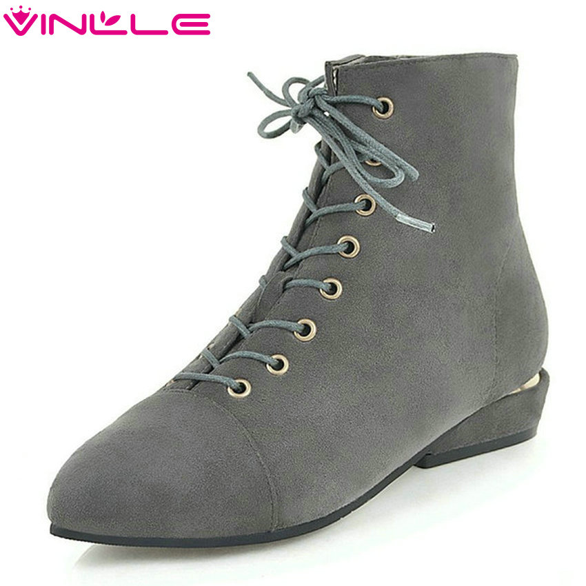 VINLLE 2019 Women Ankle Boots Square Heel Fashion Women