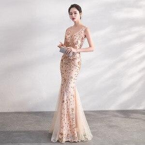 Image 3 - DongCMY Gold Farbe Pailletten Prom Kleider Vestido Lange Elegante Abend Party Frauen Kleider