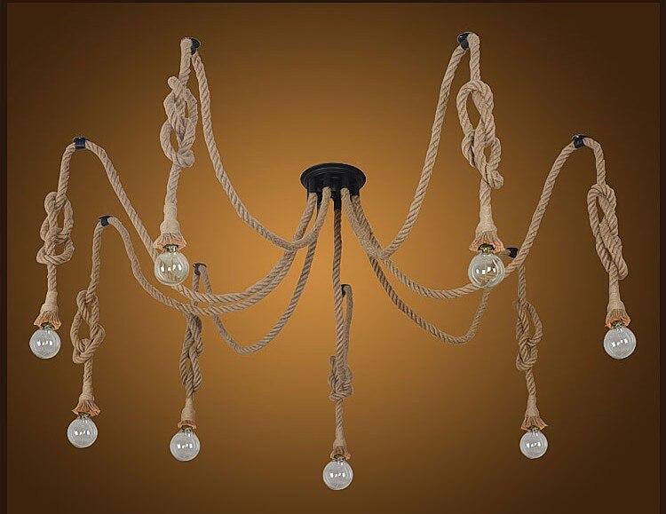 vintage loft industrial american country black spider lamp hemp rope pendant lights for coffee shop dinning room