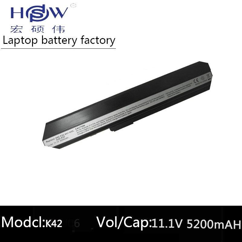 5200MAH-batteri för ASUS 70-NXM1B2200Z A31-K52 A32-K52 A41-K52 A42-K52 A52 A52F A52J K42 K42F K52 K52Jr K52JK K52JE bateria akku