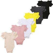 Однотонные Ползунки с оборками и короткими рукавами для новорожденных мальчиков и девочек; комбинезон; От 0 до 2 лет одежды