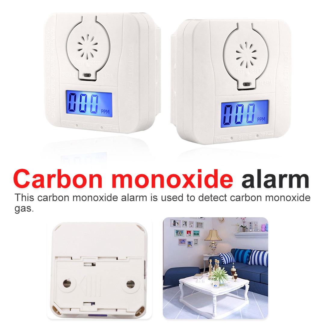 Household Monoxide Alarm Smoke Honeycomb Gas Detector Smoke Detector Safety Poisoning Alarm LCD Photodetector