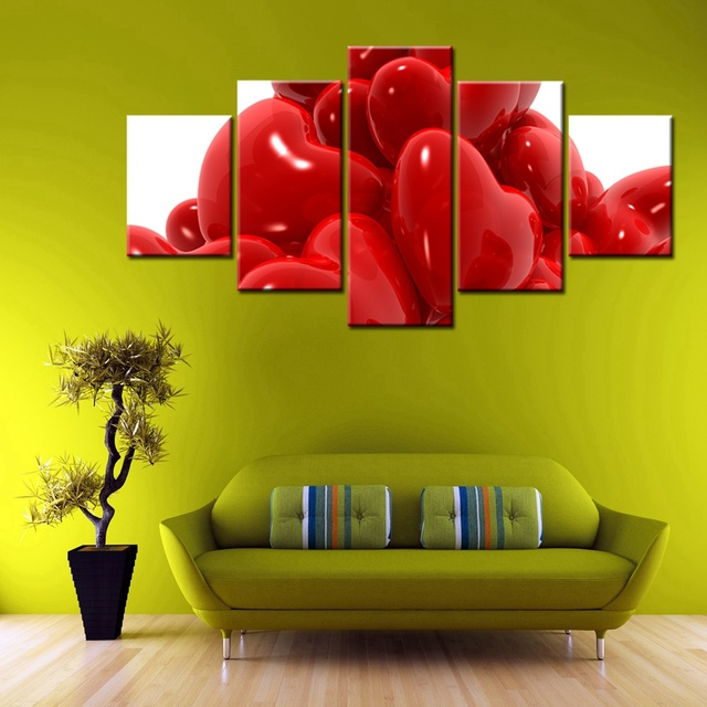 Best Wedding Gift 3D Heart Wall Art Canvas Painting On the Ring Rose ...