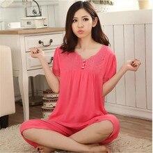Pajamas Women Ladies Summer Pyjamas Modal Red Lace Collar Sleep Pullover Pajamas Women Lounge Pajama Sets Plus Size 4XL