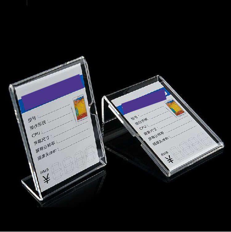 Clear color Solid Acrylic Phone retail store Price Label Display Holder Advertising Leader Stand for iphone Mobile phone Shop 29 7 21cm a4 black bottom t strong magnetic advertising sign card display stand acrylic desktop menu price label holder rack