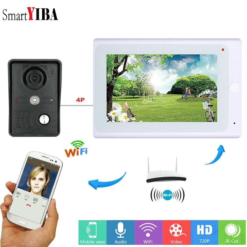 SmartYIBA Door Bell Wfi Monitor Video Intercom App Remote Door Intercom Video Phone Rainproof Entryphone System 1000TVL Camera