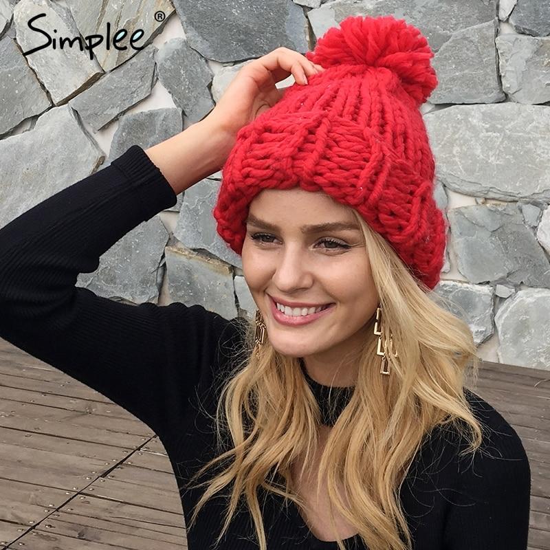 d87784020 Simplee Knitting wool ball skullies beanies Casual streetwear warm hat cap  Women autumn winter cute beanie hat female