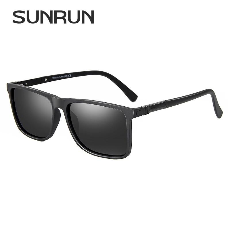 c217aeb1ea Barato SUNRUN Recentes TR90 Quadro Quadrado Óculos Polarizados Homens Marca  Designer Óculos de Sol Óculos de