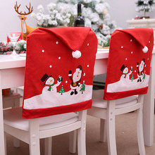 Red Hat Chair Back Covers Xmas Christmas Decorations for Home 1pcs New Santa Claus Cap Chair Cover Christmas Dinner Table Party(China)