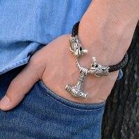 1pc Norse Viking Leather Bracelet With Thor Hammer Mjolnir Men S Punk Animal Amulet Bracelet Geeks