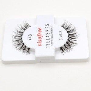 Image 4 - 12 ריסי זוגות מכונף 100% שיער אדם עבודת יד ריסים מלאכותיות איפור ריסים מלאכותיים מינק maquillaje לשימוש חוזר עבור visofree 48