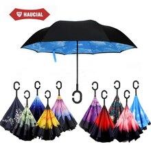 Coupe-vent De Voiture Inverse Parapluie Auto Stand Coloré Flore Double Couche Inversé Pluie Parapluie Femmes Creative C Poignée