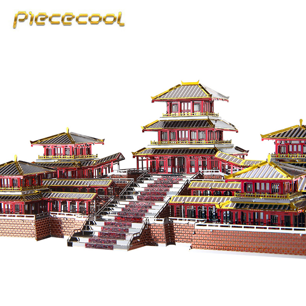 Piececool 3D Metal Nano Puzzle Epang Palace Building Model Kits P094-RSK DIY 3D Laser Cut Assemble Jigsaw Toys original piececool 3d assembling metal puzzle taj mahal building p007 g model diy 3d laser cut nano jigsaw toys gold