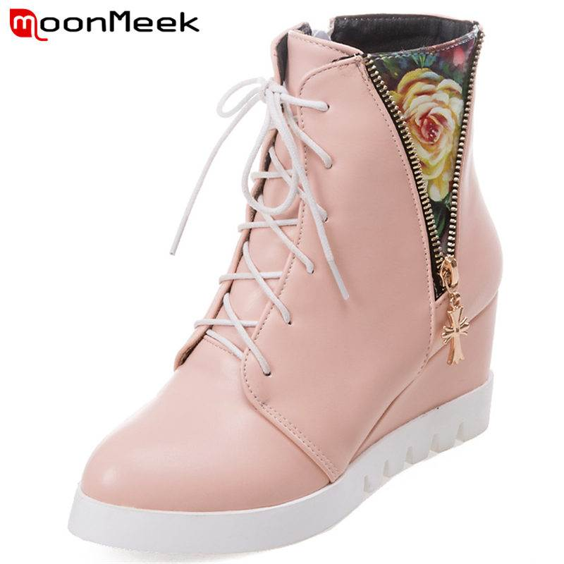 MoonMeek SIZE 32-44 2018 HOT fashion zipper top quality PU boots round toe ankle boots patchwork wedges platform winter bootsMoonMeek SIZE 32-44 2018 HOT fashion zipper top quality PU boots round toe ankle boots patchwork wedges platform winter boots