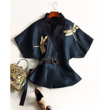 New arrive 2016 women's autumn runway fashion Windbreaker embroidery designer trench coat Elegant casual vintage outwear D6903