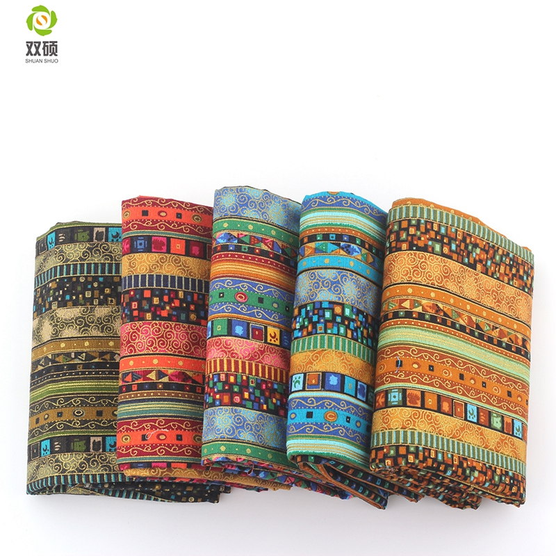Floral African Cotton Linen vintage fabric DIY Handmade Textile Sewing Patchwork For Bags Dress Clothes 145*50CM M44