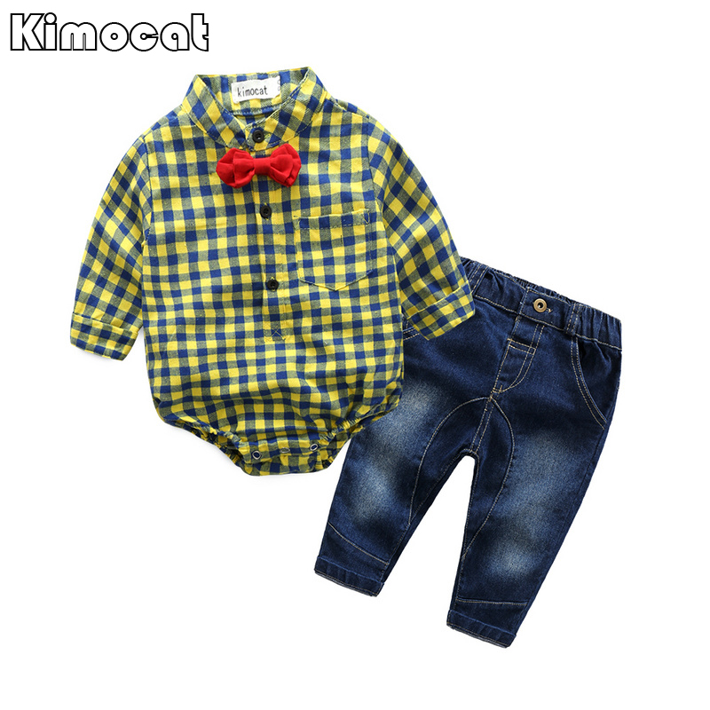 Infant Newborn Baby Boy Boy Clothes Long SleeveB Gentleman Rompers +pants Suit Kids Boy Clothing Set kids clothes 25