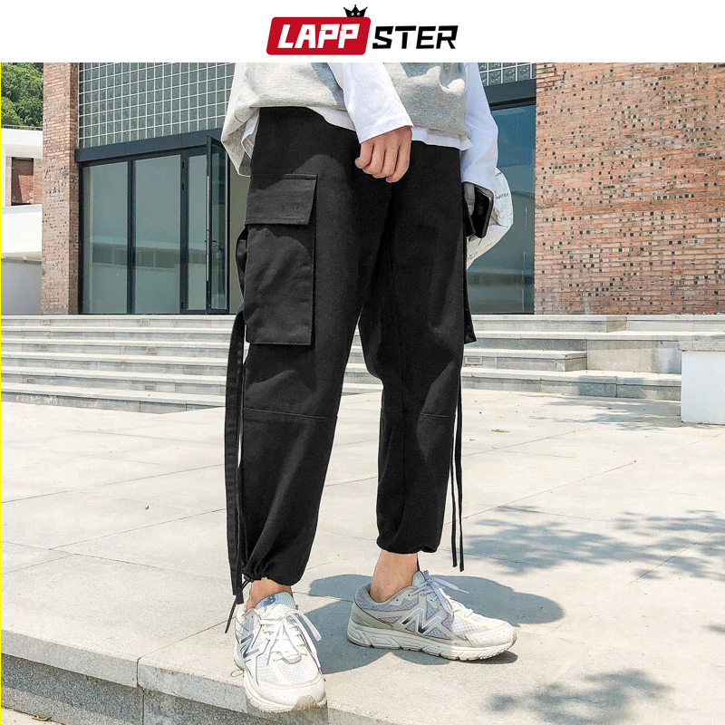 LAPPSTER Men Japanese Streetwear Carog Pants 2020 Hip Hop Baggy Ribbons Joggers Korean Style Sweat Pants Black Track Pants
