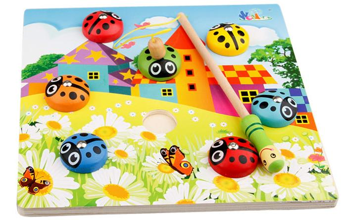 Brezplačna dostava Baby Wood Montessori magnetna ribiška igrača hrošč Klasična magnetna riba lesena izobraževalna igra za otroke Puzzle igrače
