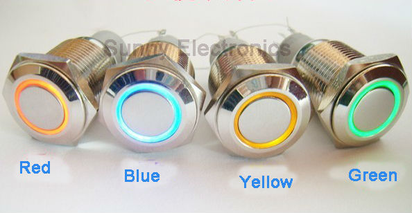 wholesale 25pcs/lot 16mm stainless steel illuminated latching push button switch 12vdc ring Blue LED flat actuator