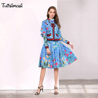 2018 spring summer sky blue floral pleated skirt suit + blow blouse Top 3XL plu size large women sets (D033)