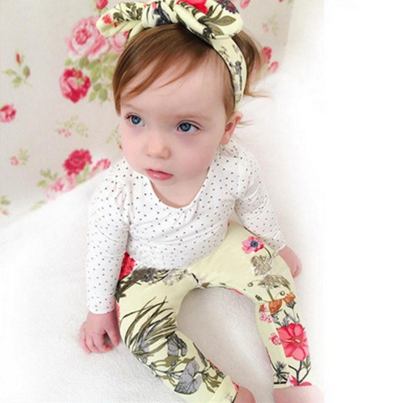 2017 Autumn Baby girl clothes 3pcs suits Long sleeve Tops+Flower Leggings+Headband Newborn Toddle baby girls clothing sets