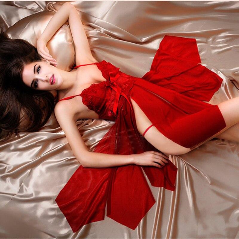 Deep V-Neck Lace Slits Nightdress