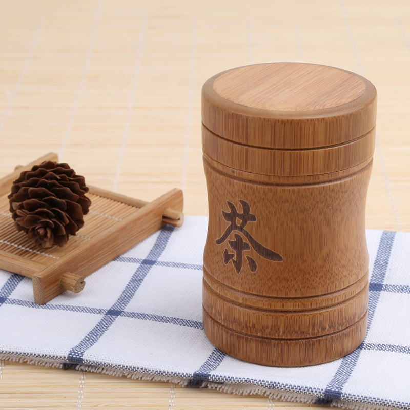 Mini Porable Tea Box Bamboo Material Travel Outdoor Vase Sealed Cans Gifts
