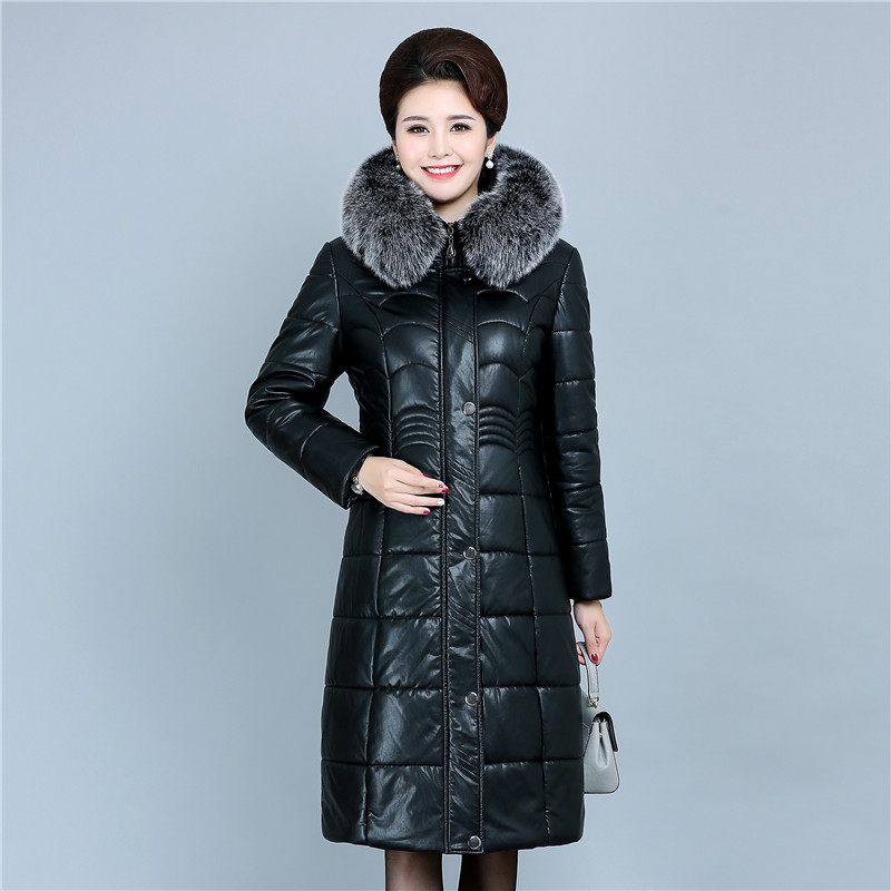 Women Winter Long Soft Leather Jacket PU Parkas 2018 New Ladies Fur Collar Hooded Cotton padded