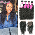 8A Water Wave Virgin Hair With Closure 4 Bundles Malaysian Virgin Hair With Closure Water Curly Human Hair Weave With Closure