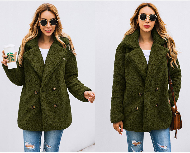HTB1ZLCEbbj1gK0jSZFOq6A7GpXa1 Lossky Women Long Sleeve Autumn Winter Thick Warm Jacket Coats Plus Size Loose Button Pocket Pink Lady Plush Flannel Overcoat
