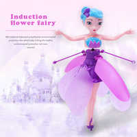 LED Luminous Hand Control Aircraft Christmas Gift Toy Flower Princess RC Drone Lighting Induction Flying Toys for Kids