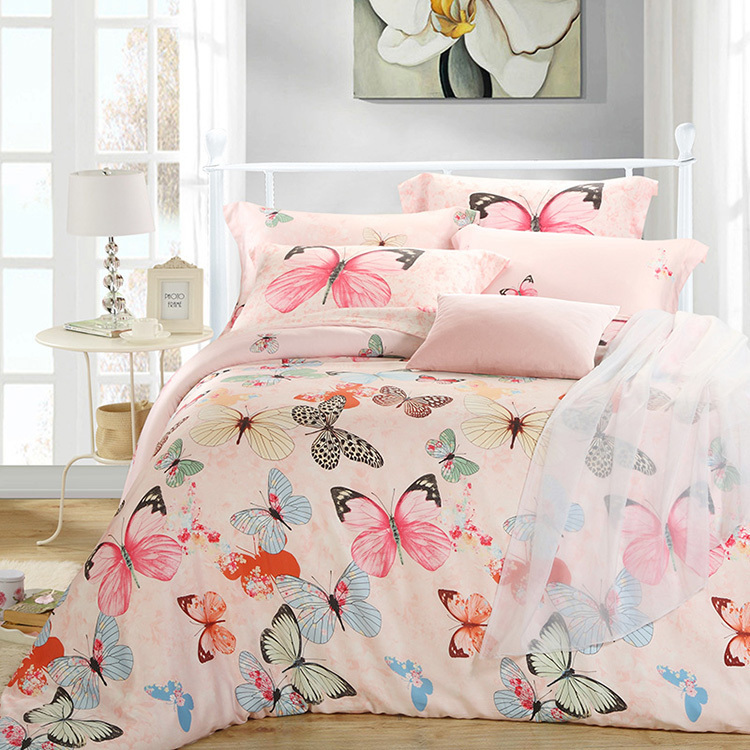 Luxury butterfly queen king size bedding sets pink quilt duvet cover sheets  bed bedset bedspreads bedsheets